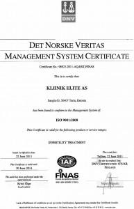 ISO 9001: 2008 kvalitetsledningssystem certifikat i Elite Private Clinic