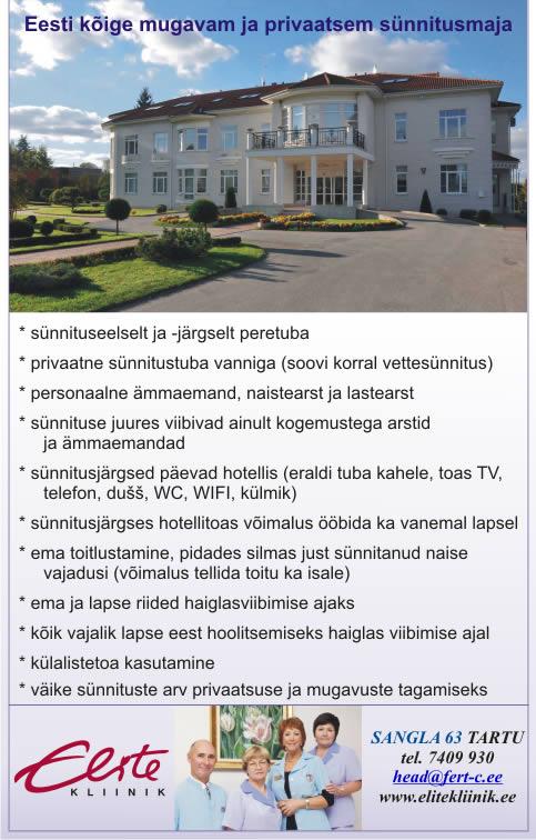 Elite kliinik - Eesti kõige mugavam ja privaatse sünnitusmaja