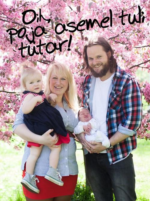 Laura ja Nic koos tütar Miia ja mõne- päevase Oliviaga, kes ootuste järgi pidi olema poiss. Nüüd tuleb ostetud sinised titariided sobitada kokku roosadega.