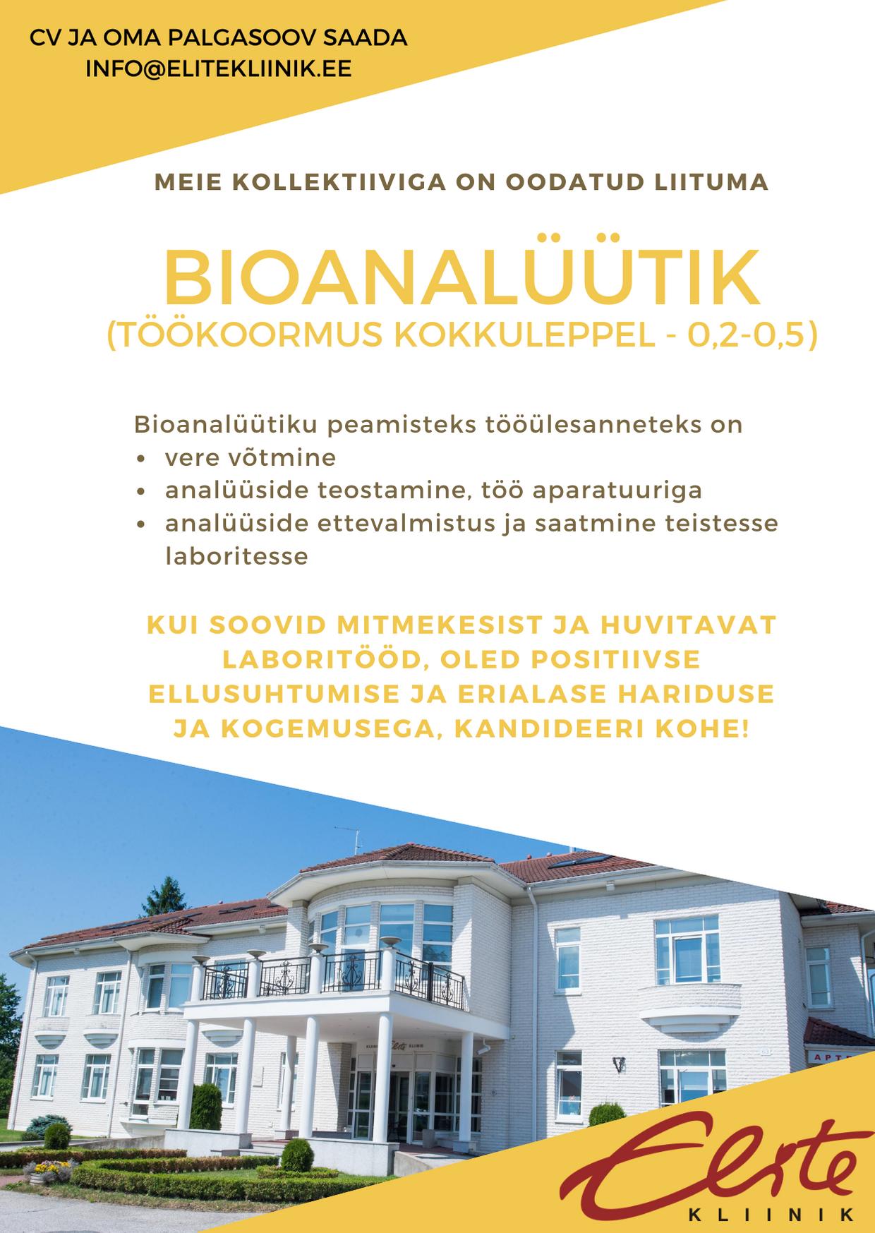bioanalüütiku 2020 konkurss Elite Kliinikusse