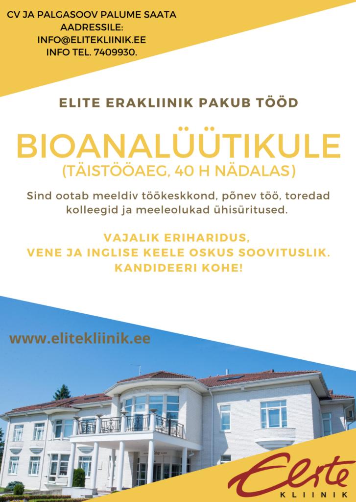 töökuulutus bioanalüütik 2021 Kliinik Elite